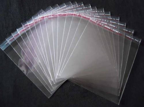 saco plástico transparente com adesivo